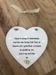 Shabby Personalised Chic Godmother Heart Plaque Christening Baptism Godparents - 332522175345